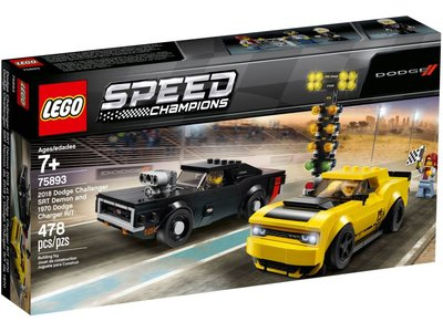 LEGO Speed Champions 75893 2018 Dodge Challenger SRT Demon en 1970 Dodge Charger R/T