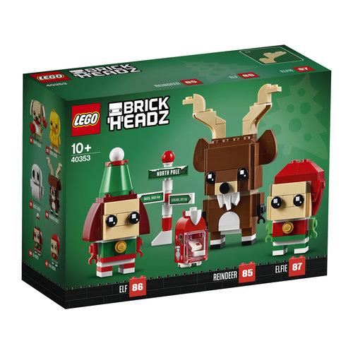 LEGO Brickheadz 40353 Rendier, Elf en Elfie