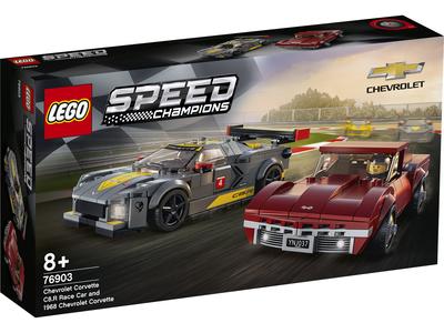 LEGO Speed Champions 76903 Chevrolet Corvette C8.R racewagen en 1968 Chevrolet Corvette