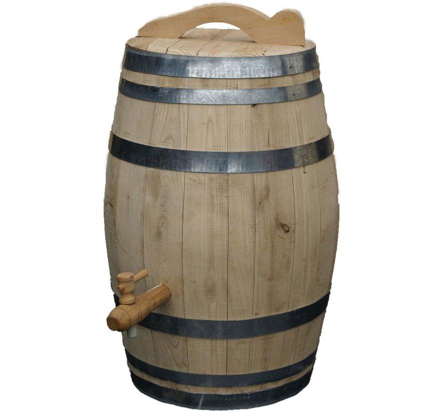 Houten Regenton - 50 Liter Kastanje + Kraan / Handvat