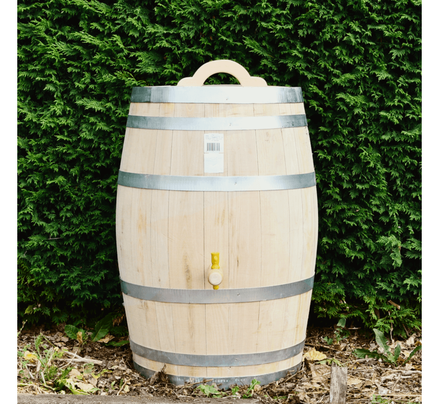 Houten Regenton - 150 Liter Kastanje + Kraan + Handvat