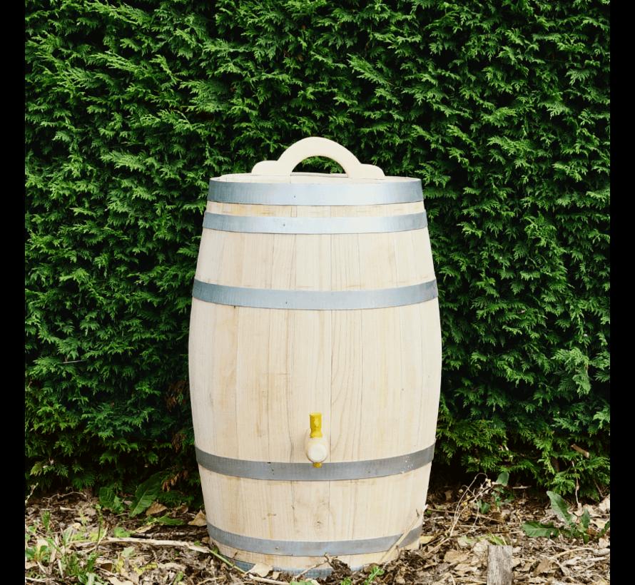 Houten Regenton - 100 Liter Kastanje + Kraan / Handvat