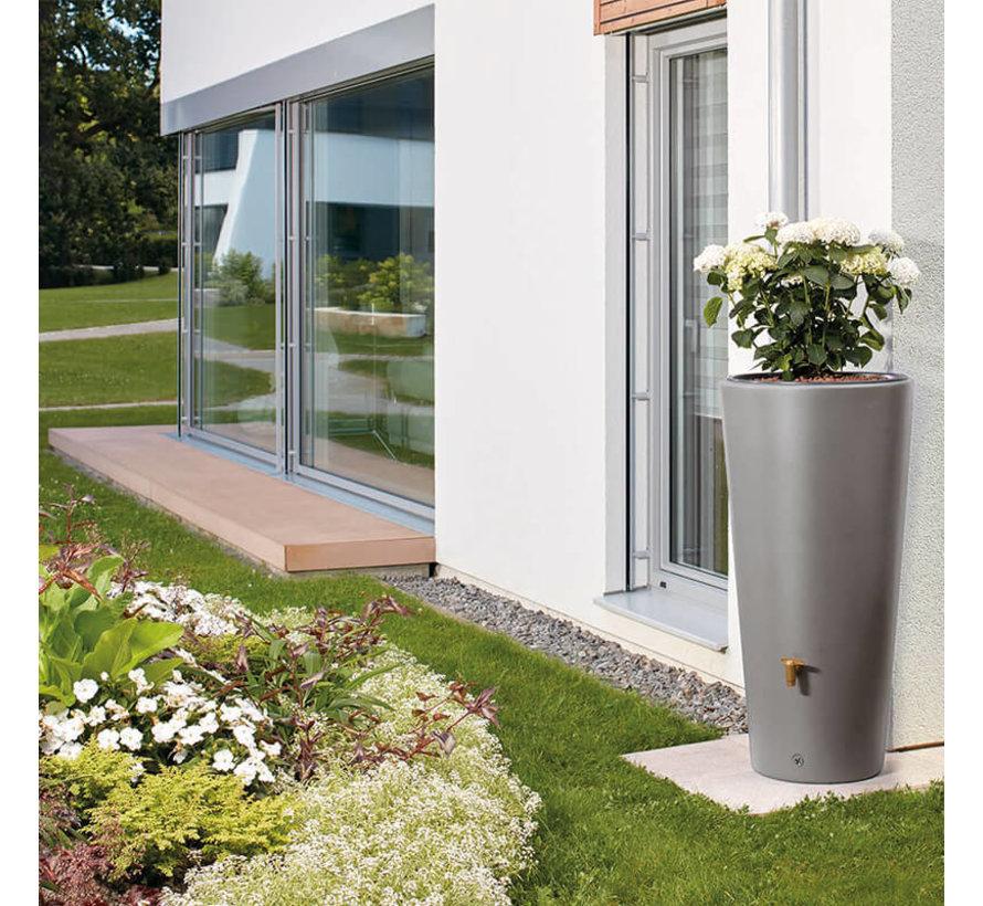 Regenton Vaso Lichtgrijs - 220 liter - 2 in 1 + Plantenbak & Vulautomaat
