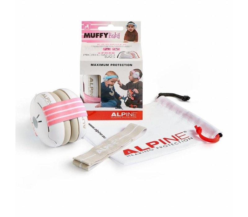 Alpine Muffy Baby Gehörschutz - Rosa Band (mit extra grauem Band)