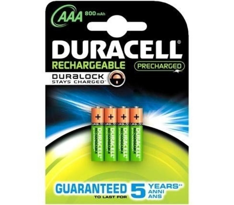 Duracell AAA 800mAh rechargeable (HR03) - 1 Packung (4 Batterien)
