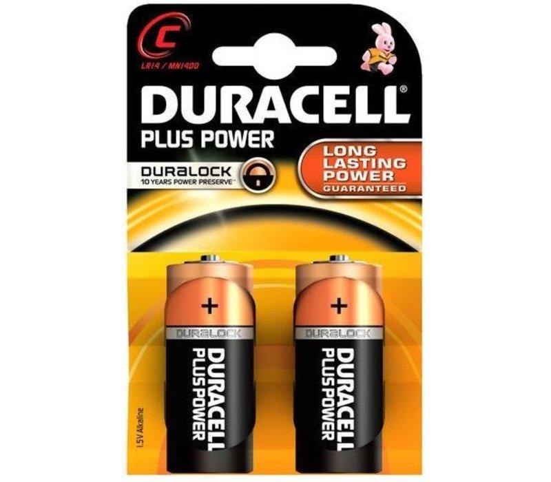 Duracell Alkaline Plus Power Duralock C Baby (LR14) - 1 Packung (2 Batterien)