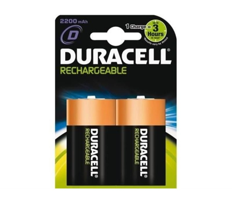 Duracell D 2200mAh rechargeable (HR20) - 1 Packung (2 Batterien)