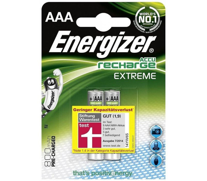 Energizer Recharge Extreme AAA 800mAh (HR03) - 1 Packung (2 Batterien)