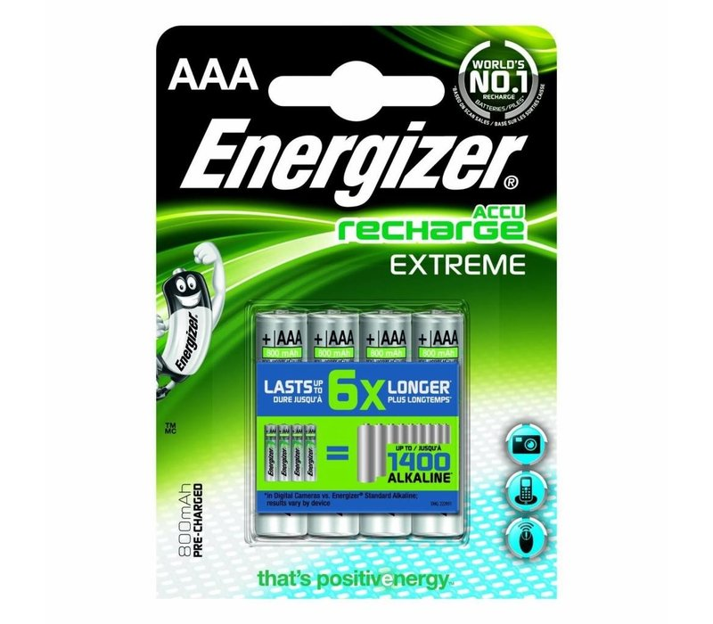 Energizer Recharge Extreme AAA 800mAh (HR03) - 1 Packung (4 Batterien)