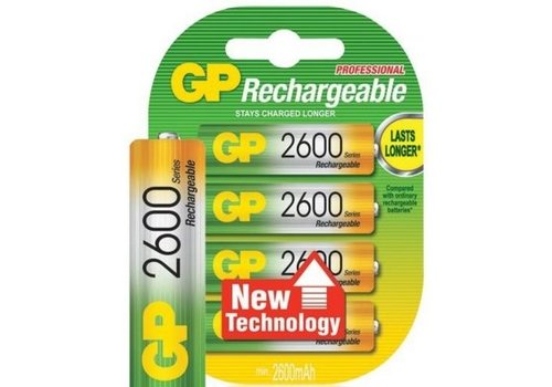 GP GP AA 2600mAh rechargeable (HR6) - 1 Packung (4 Batterien)