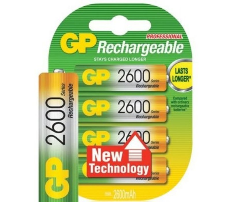 GP AA 2600mAh rechargeable (HR6) - 1 Packung (4 Batterien)