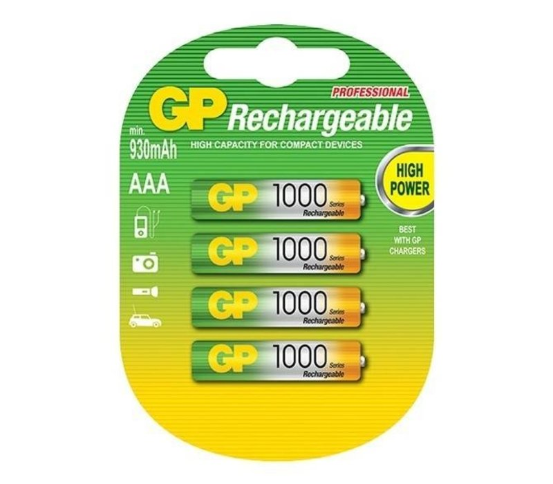 GP AAA 1000mAh rechargeable (HR03) - 1 Packung (4 Batterien)