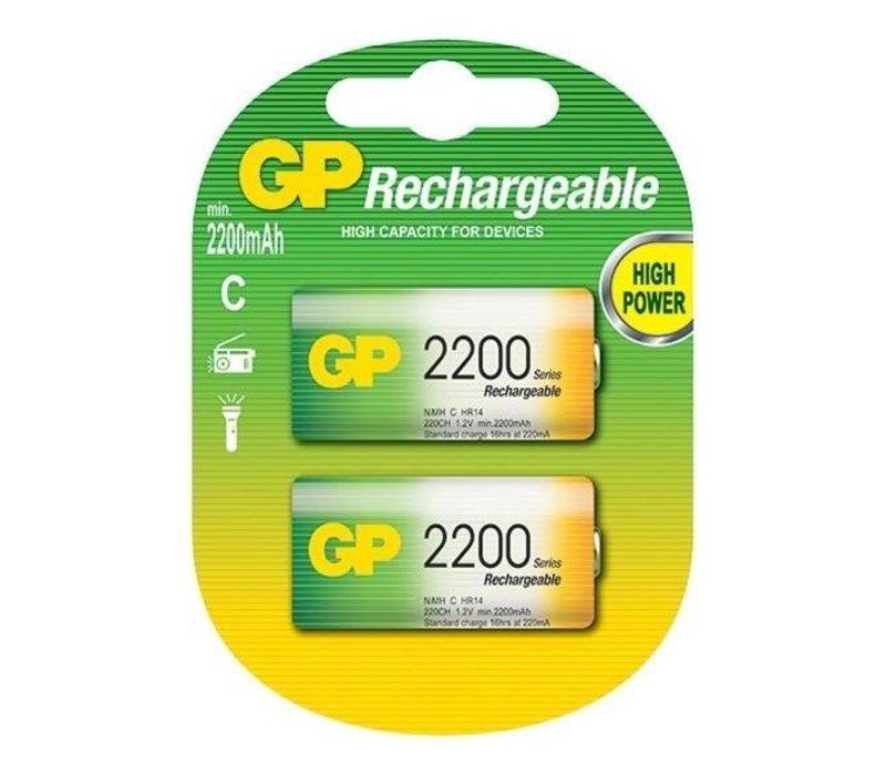 GP C 2200mAh rechargeable (HR14) - 1 Packung (2 Batterien)