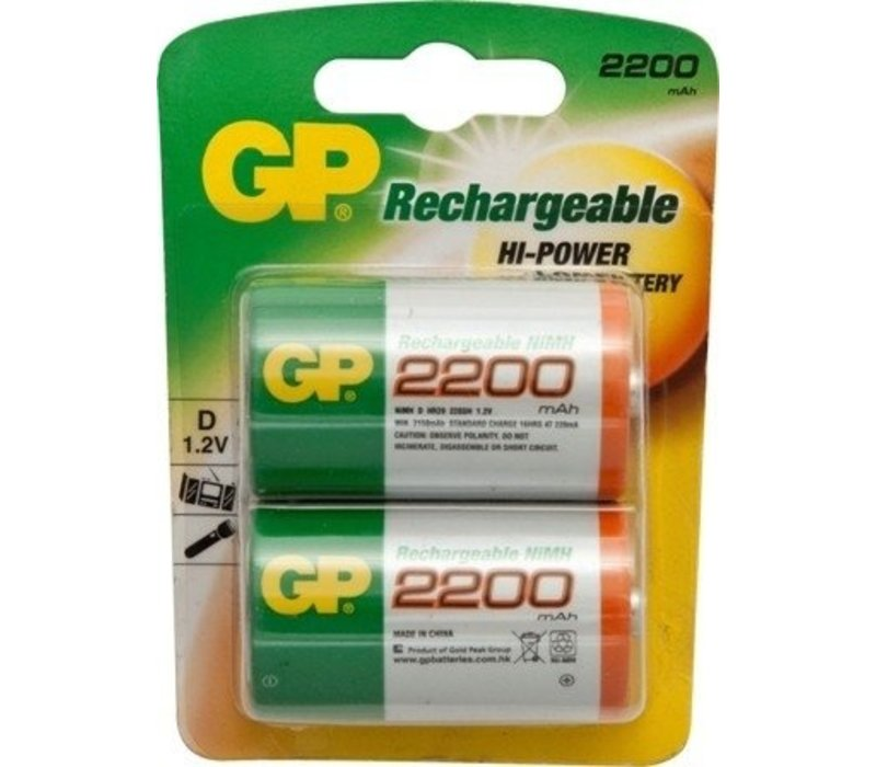 GP D 2200mAh rechargeable (HR20) - 1 Packung (2 Batterien)