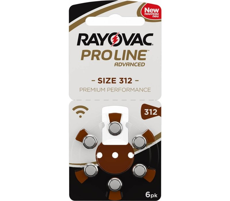 Rayovac 312 Braun (PR41) ProLine Advanced Premium Performance (Packung/6) - 1 Päckchen / 6 Batterien