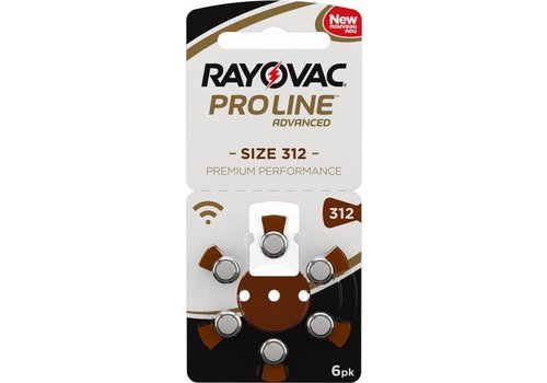 Rayovac Rayovac 312 Braun (PR41)  ProLine Advanced Premium Performance (Packung/6) - 20 Päckchen / 120 Batterien