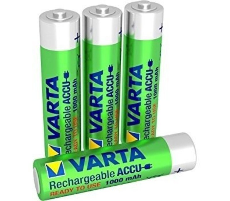 Varta AAA 1000mAh rechargeable (HR03) - 1 Packung (4 Batterien)