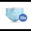 Private Label Mundmaske Typ II, Atemschutzmaske 3-lagig, 20 Stück. Einmalgebrauch mit Ohrringschlaufe.