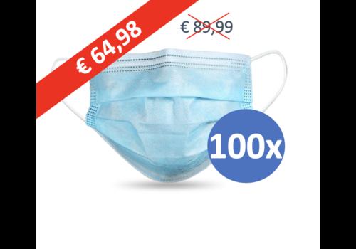 Private Label Mundmaske Typ II, Atemschutzmaske 3-lagig, 100 Stück. (Einwegmaske)