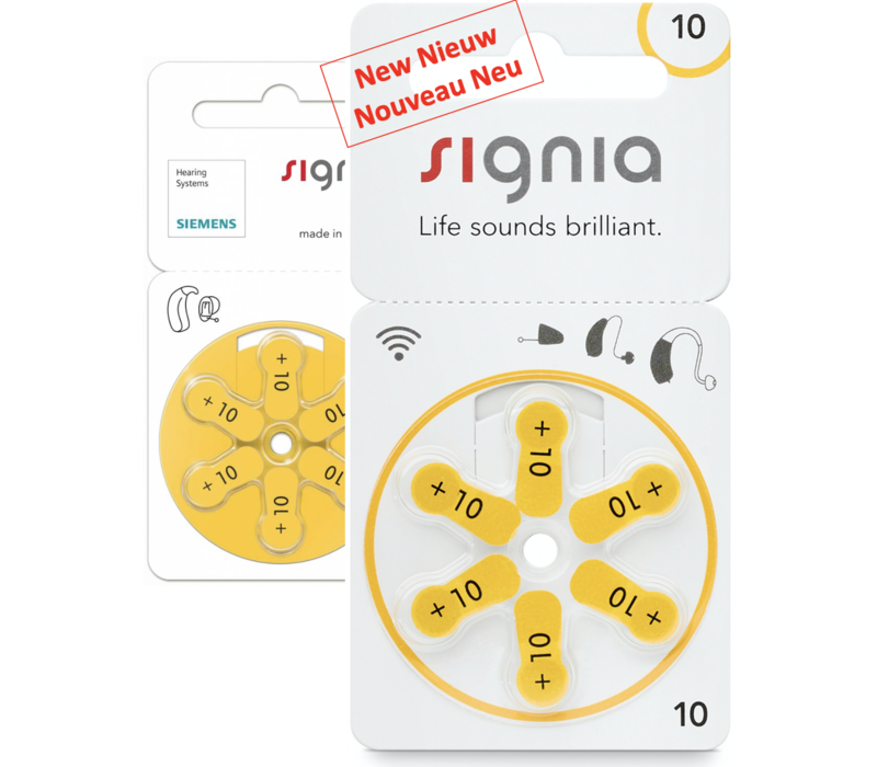 Siemens Signia 10 Gelb (PR70) Hörgerätebatterien - 1 Päckchen (6 Hörbatterien)