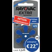 Rayovac 675 Extra Advanced - 10 Päckchen (60 Batterien)