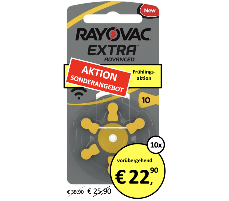 Rayovac 10 (PR70) Extra Advanced - 10 Blisterpackung (60 Batterien)