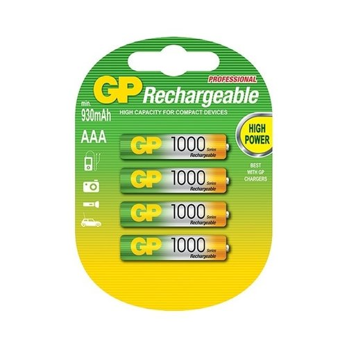 GP GP AAA 1000mAh rechargeable (HR03) - 1 Packung (4 Batterien)