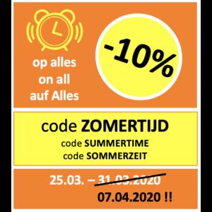 ZOMERTIJD PROMO: -10% op alles met code 'ZOMERTIJD'