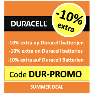 DURACELL PROMO: -10% extra op Duracell met code 'DUR-PROMO'