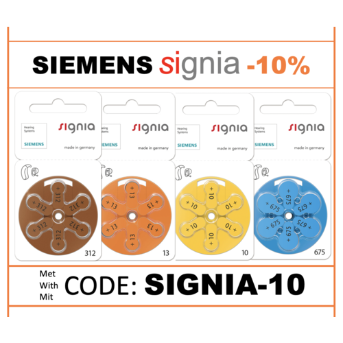 Signia SIEMENS Promo: -10% EXTRA on Signia with code 'SIGNIA-010'