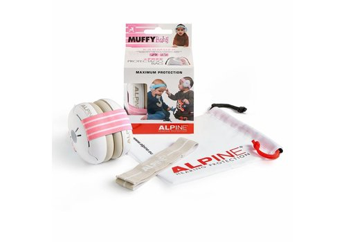 Alpine Alpine Muffy Baby Protection Auditive - Bande rose (avec bande grise supplémentaire)