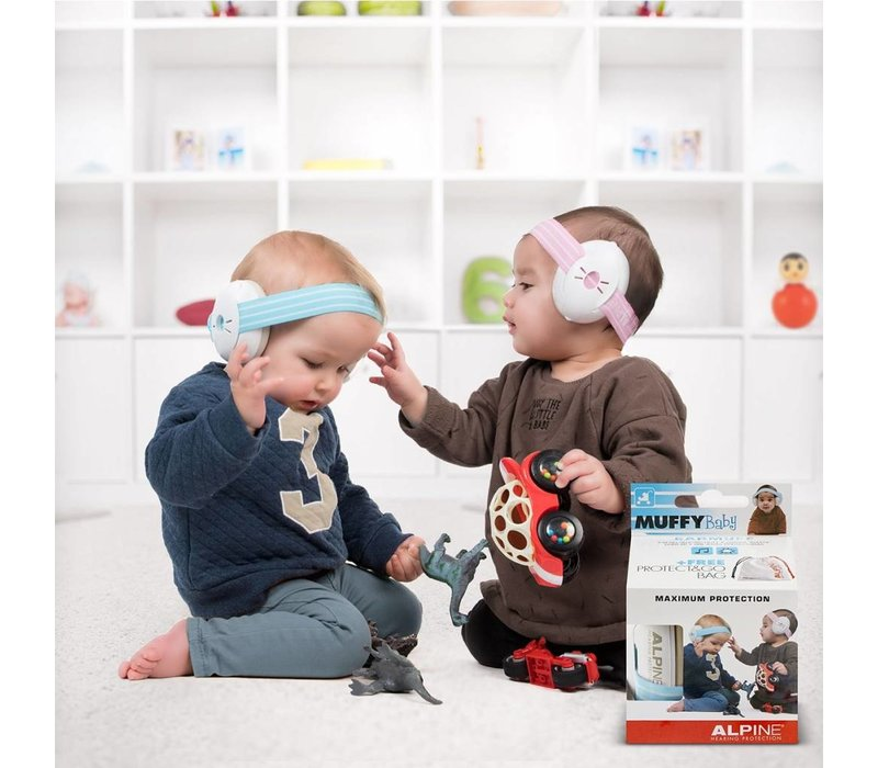 Alpine Muffy Baby Hearing Protection - Pink band (with extra gray band)