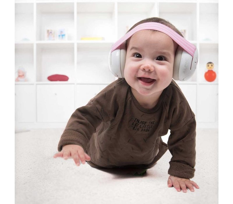 Alpine Muffy Baby Protection Auditive - Bande rose (avec bande grise supplémentaire)