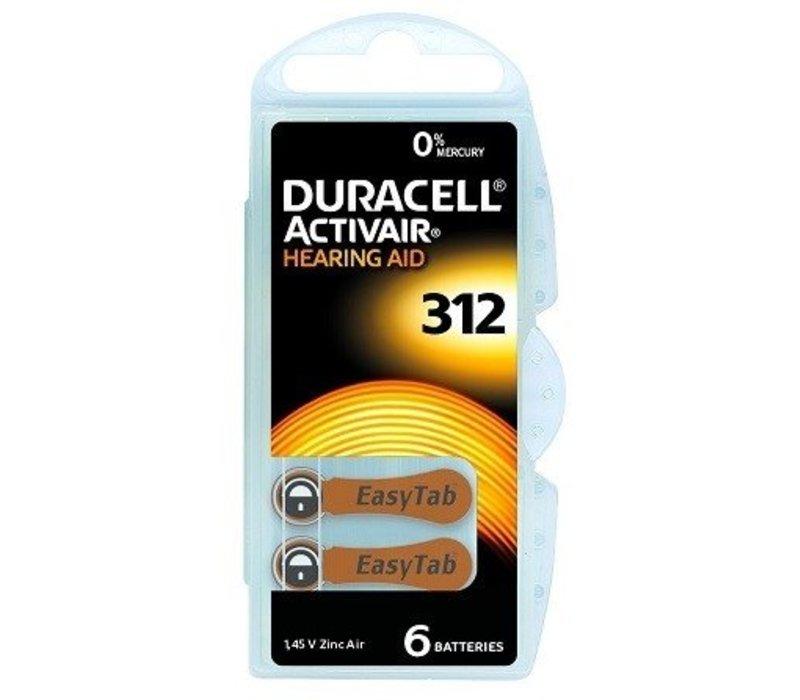 Duracell 312 (PR41) Activair EasyTab - 1 pakje (6 batterijen)