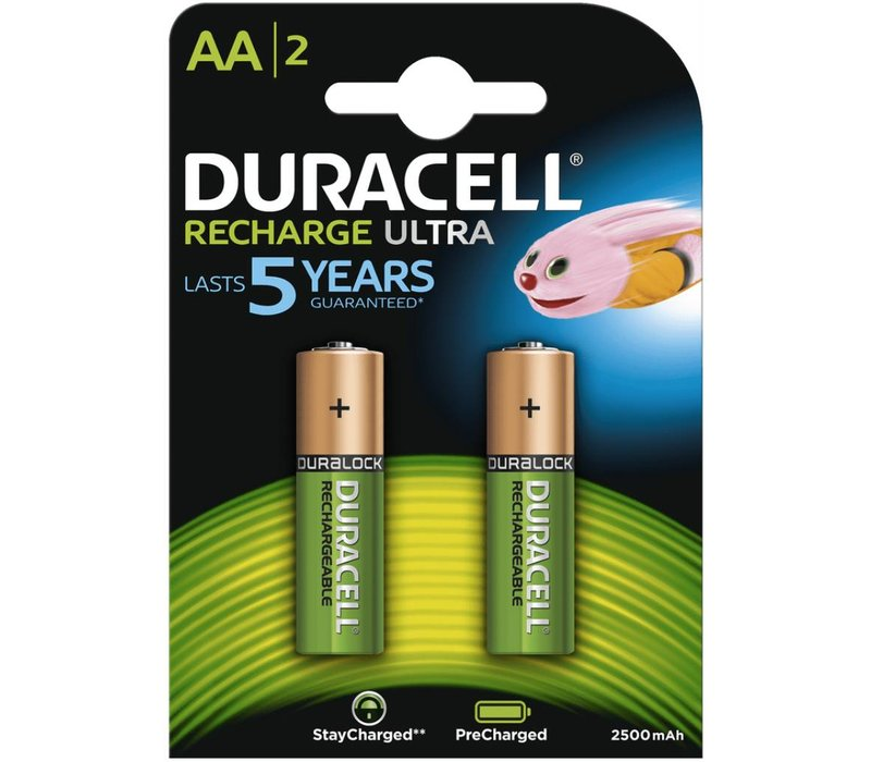 Duracell AA 2500mAh rechargeable (HR6) - 1 pack (2 batteries)