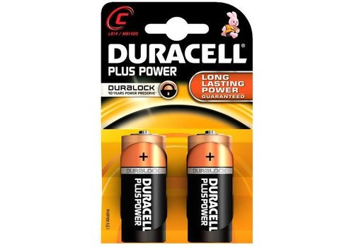 Duracell Duracell Alkaline Plus Power Duralock C Baby (LR14) - 1 pack (2 batteries)