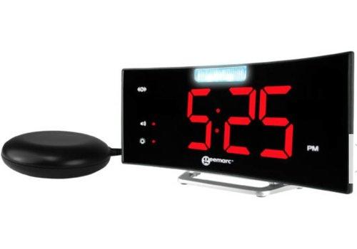 Geemarc Geemarc réveil Wake 'n Shake Curve avec lampe de flash à LED, vibrant et port USB