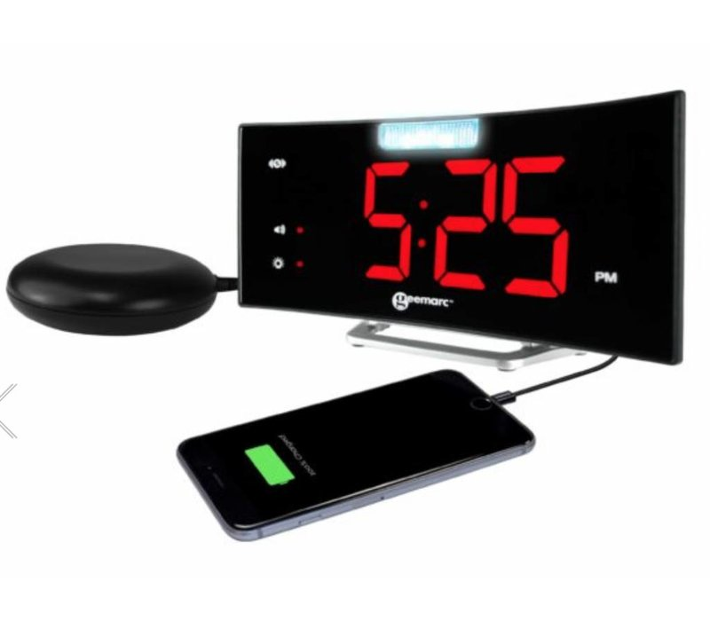 Geemarc alarm clock Wake'n'Shake Curve with vibrating pad, LED (flash) lamp and USB port