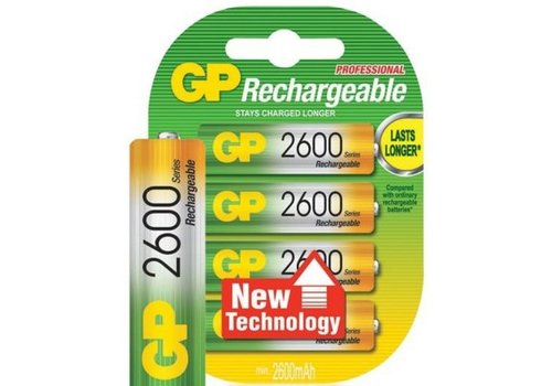 GP GP AA 2600mAh rechargeable (HR6) - 1 collis (4 piles)