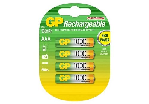 GP GP AAA 1000mAh rechargeable (HR03) - 1 collis (4 piles)
