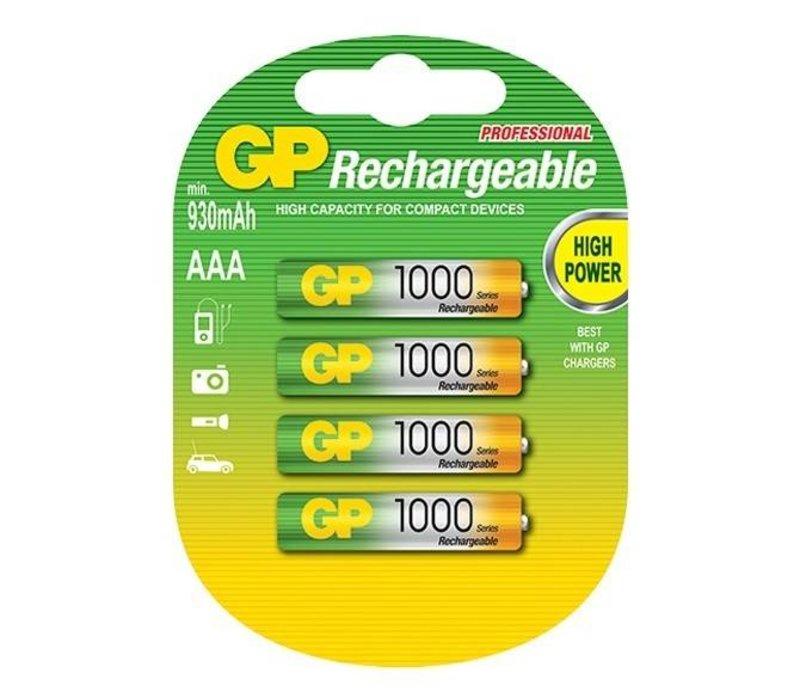 GP AAA 1000mAh rechargeable (HR03) - 1 collis (4 piles)