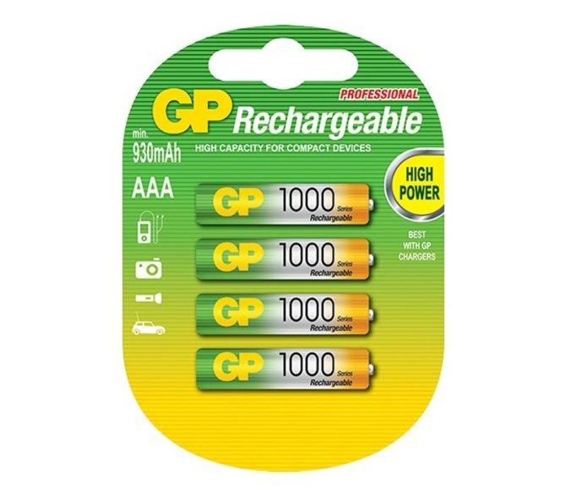 GP AAA 1000mAh rechargeable (HR03) - 1 pack (4 batteries)