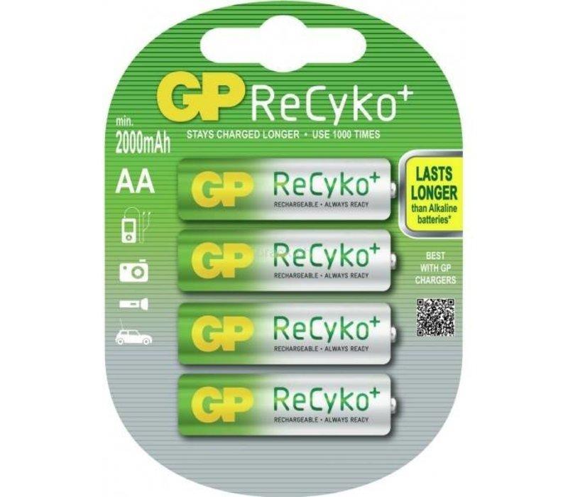 GP AA 2000mAh ReCyko+ (rechargeable) (HR6) - 1 pakje (4 batterijen)