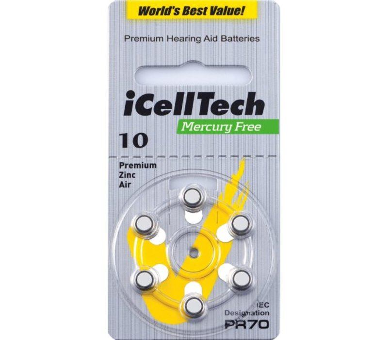 iCellTech 10DS  (PR70) Platinum – 1 blister (6 batteries)