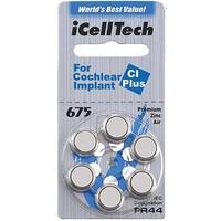 iCellTech 675 CI Plus (PR44) pour Implant Cochléaire- 1 colis (6 piles implant cochléaire)