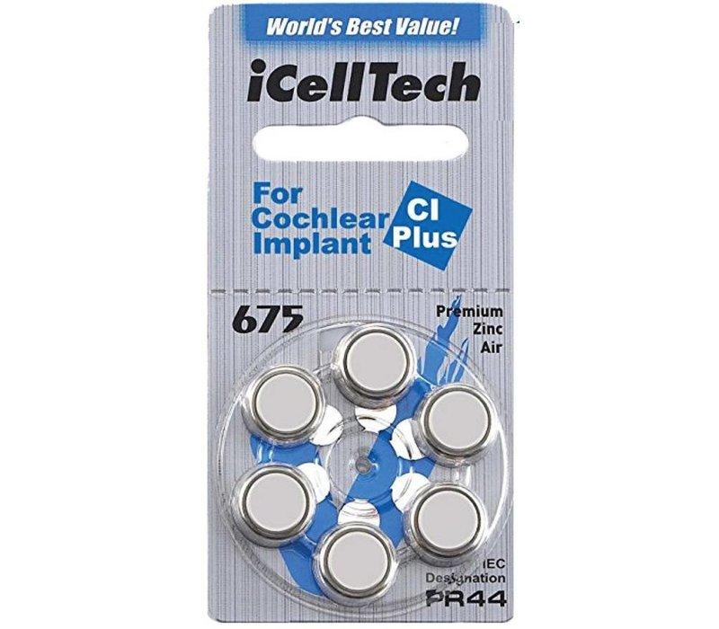 iCellTech 675 CI Plus (PR44) voor Cochlear Implant - 1 pakje (6 cochleair implantaat batterijen)