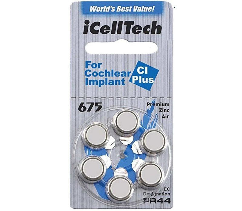 iCellTech 675 CI Plus (PR44) for Cochlear Implant - 100 blisters (600 cochlear implant batteries)