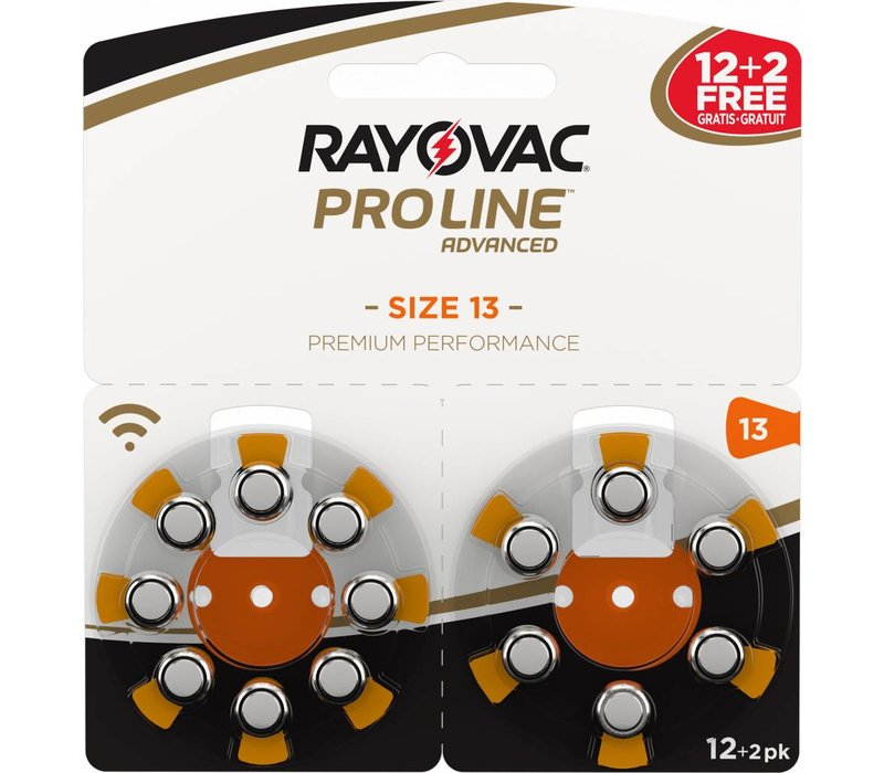 Rayovac 13 (PR48) ProLine Advanced Premium Performance - 5 double blisters (70 batteries) **60+10 FREE**