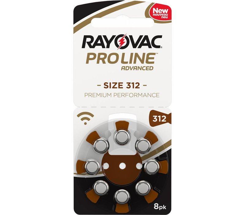 Rayovac 312 (PR41) Proline Advanced Premium Performance (8 pack)  - 10 blisters ( 80 batteries)