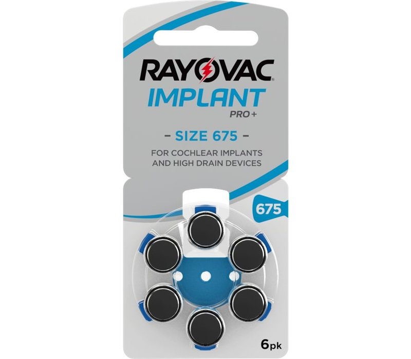 Rayovac 675 (PR44) Cochlear Implant Pro Plus - 10 blisters (60  cochlear implant batteries)